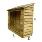 3ft (W) x 2ft (D) x 5ft (H) Log Store